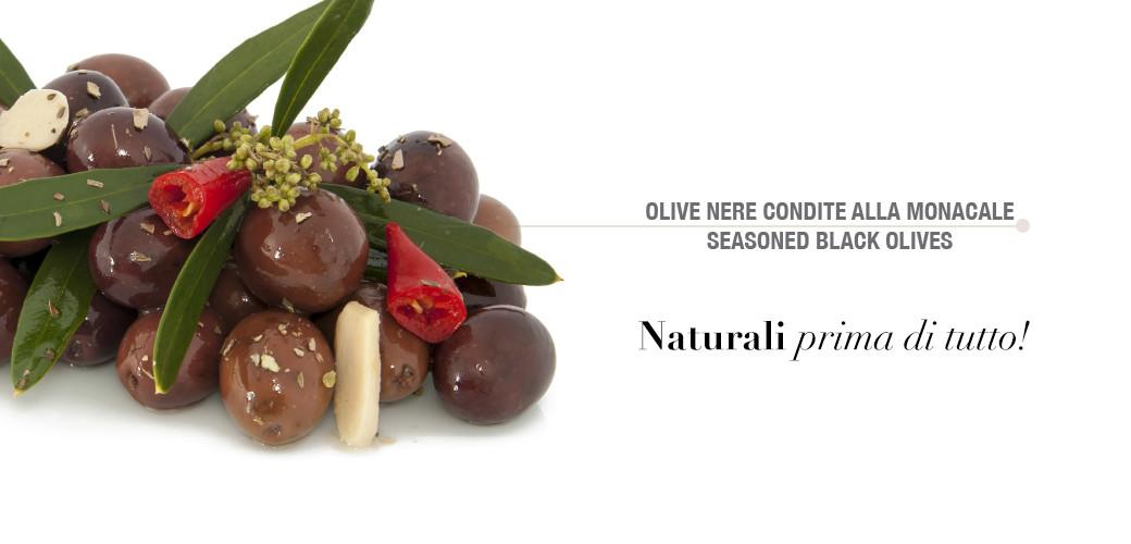 Olive nere condite alla monacale